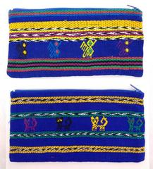 Lot of 2 Blue Guatemalan Hand Woven Pencil Case Zipper Pouches CONCERNED CRAFTS
