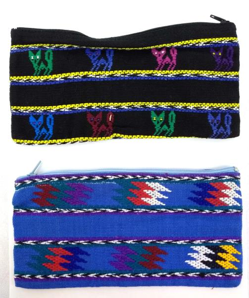 Lot of 2 Guatemalan Hand Woven Pencil Black Blue Zipper Pouches CONCERNED CRAFTS