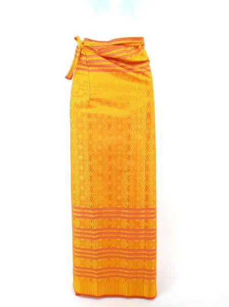 Hand Made India Wrap Skirt Lehenga? Red Orange and Gold Brocade Geometric Ikat