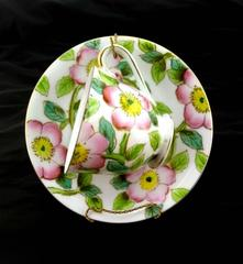 Vtg MERIT Tea Cup & Saucer Miniature Floral Wild Rose Japan w/ Stand