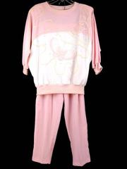 Vtg 80's 90's Retro ADOLFO Track Suit Beverly Goldberg Pink Butterflies Sz SMALL