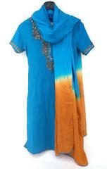 Salwar Kameez Hand Embellished Punjabi Suit Blue Copper Beaded Sequins Bollywood