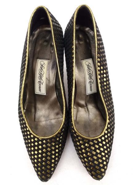 Vtg 80s / 90s Saks Fifth Ave Low Heels Black Suede / Gold Basket Weave Sz 7.5 B