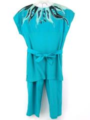 Vtg 80s / 90s CERVELLE Blue Sequin Emboidered Pant Set w/ Ribbed Top Sz SMALL