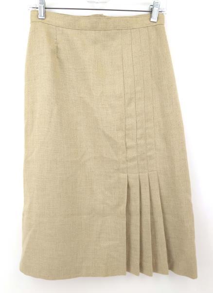 Vtg Pleated A-Line Midi Skirt PRESTIGE OF BOSTON Beige Natural Linen Sz 10