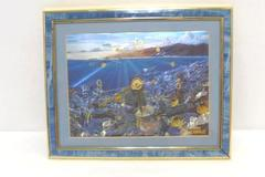 Framed Aloha Hawaii Picture Foil Print Ocean Life Dick Kearney Clock Working