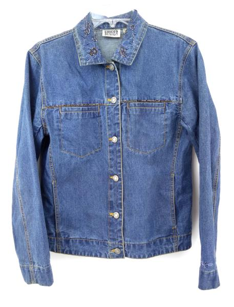CHICO'S Boho Hippie Beaded Denim Jacket w/ Embroidery Sz 0 (S / 4)