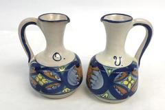 Vintage Pottery Oil & Vinegar Cruet Set Handle Cruet Blue White Marked
