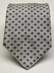 ANDREW'S TIES Fine Silk Tie, Silver, Black, Made in Italy, 60 inches, EUC