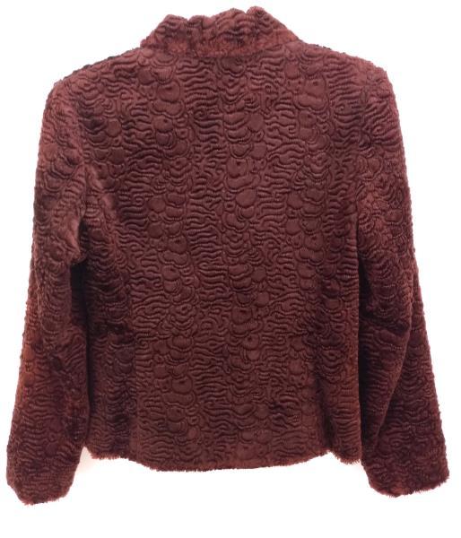 Retro 90s Red Faux Lamb Fur Jacket Front Zip MERCEDES NEW YORK Sz 4