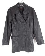 WILSON'S LEATHER Trench Coat Double Breasted Black Soft Genuine Leather Womens S