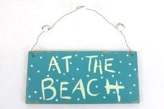 At The Beach Collect Shells Nautical Seaside Marine Wood Hanging Wall Plaque