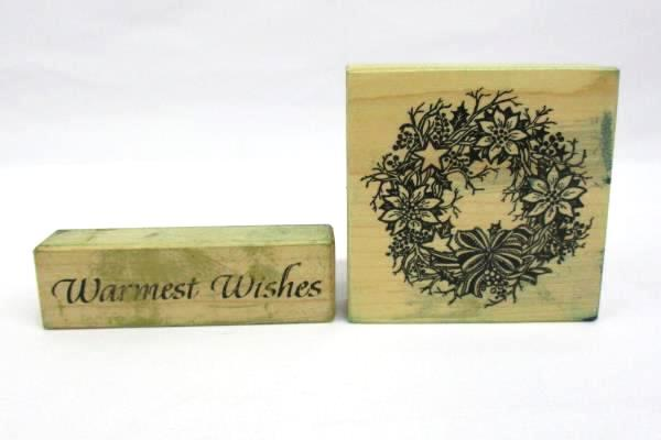 """Lot of 2 Holiday Wood & Rubber Stamps: Christmas Wreath + """"Warmest Wishes"""""""