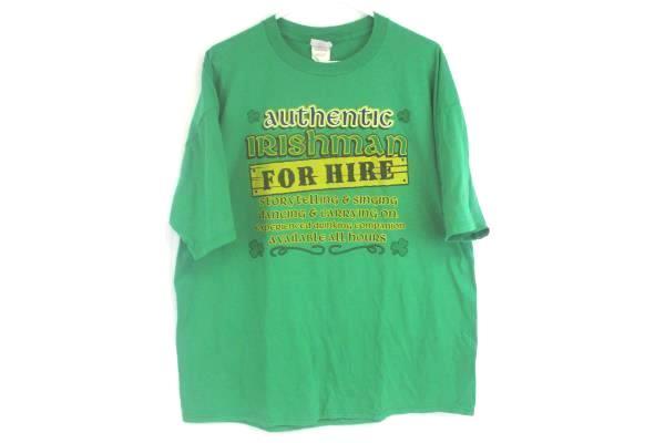 Jerzees Active Wear Authentic Irishman For Hire T-Shirt Green Men's Size XL