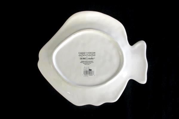 """Home Studio Coastal Collection Fish Plate White 10"""" Ceramic"""
