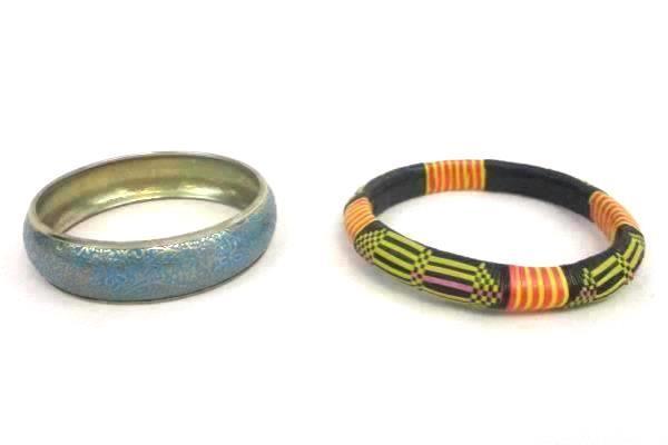 Lot of 9 Bangle Braided Beaded Metal Bracelets Hippie Hobo