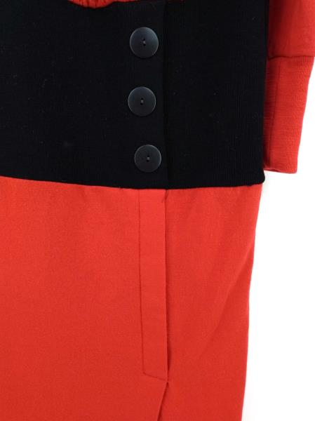 Vtg 80s CHETTA B. Dress Red Black Wool Pleated Blouson Faux Wrap Skirt Sz 8
