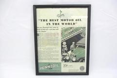 Vintage Framed PENNZOIL MOTOR OIL Saturday Evening Post Ad August 24, 1929