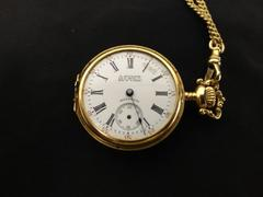 Antique Ladies Hunter Watch Waltham 14K Yellow Gold Filled Bird  32-33mm 1910