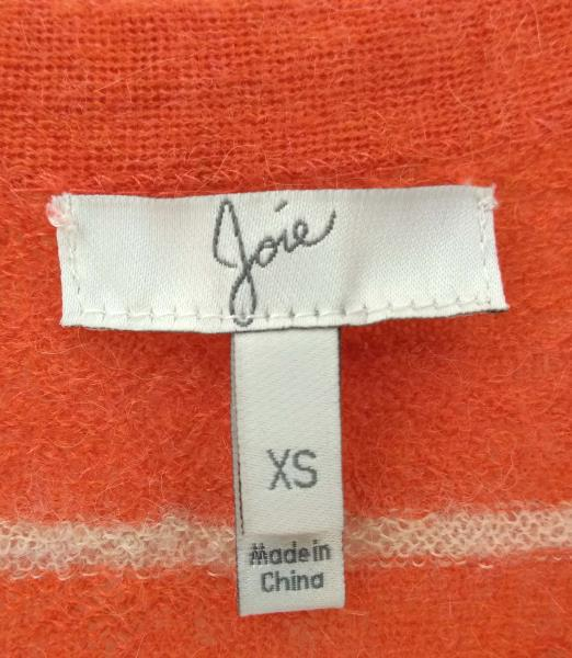 "JOIE ""Adelia"" Cardigan Coral Striped V Neck Sweater 100% Alpaca Wool Women's XS"