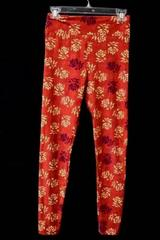 Leggings By LuLaRoe Red/Floral Pattern Stretchy Polyester Blend Women's One Size