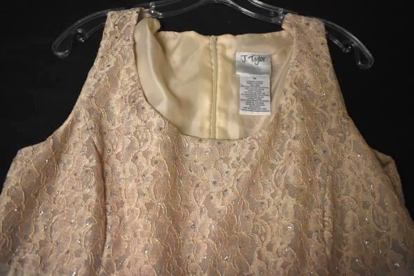 J.Taylor Dress Formal  Beige Lacey Bust With Sequins Sparkle Women's Size 16