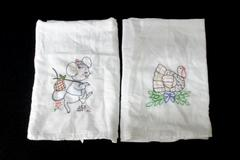 """2 VINTAGE Embroidered Dish Towels 29.5"""" x 30.5"""" Mouse and Turkey"""