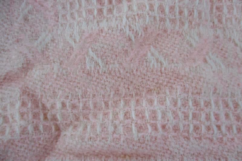 "Vintage Handmade Baby Knit Fringe Blanket Pink Peach Cream 36"" x 30"" Tassels"