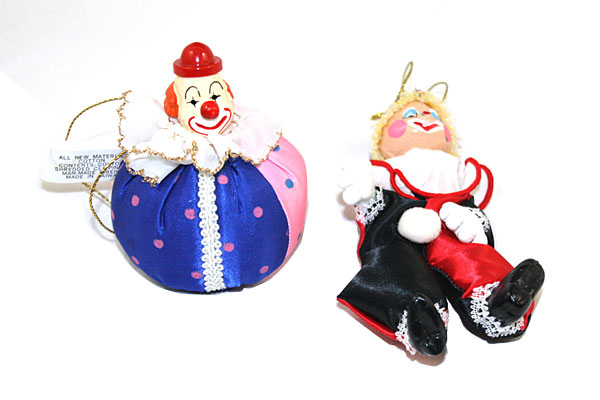 Silky Smiling Clown Ornaments- Set of 2 - Made in Taiwan