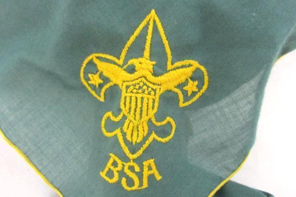 BSA Boy Scout Green Yellow Neckerchief Scarf Triangle Cloth Wood Indian Head Tie