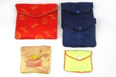 Lot Of 5 Asian Jewelry Wraps And Bags Colorful