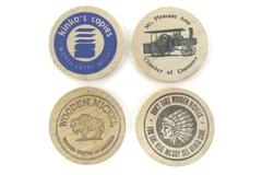 Lot of 4 Vintage Wooden Nickels Tokens Advertising Kinko's, Mt. Pleasant, U.S.