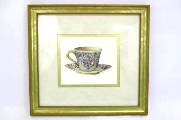 Carolyn Shores Wright Framed Art Print Rose English Bone China Tea Cup