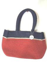 The Sak Small Red Blue Knit Purse Bag w/ Handles Pocket Key Hook Magnetic Clasp