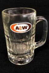 "A&W Mug Thumbprint Dimples Heavy Glass 5.75"" Tall Cup Stein"
