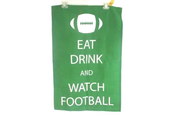 """DII 1100% Cotton Eat Drink Watch Football Dish Towel 18"""" x 27"""" Green White"""