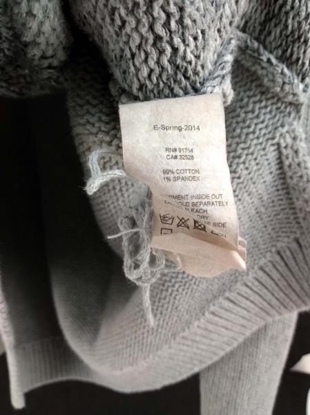 ARMANI EXCHANGE A|X Sweater Gray Cable Knit Cotton Blend Hi Lo Hem Women's M