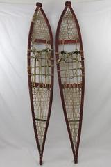 Vtg Decorative Red Handmade Primitive Snowshoes Sinew/Rawhide Bent Wood Alaska