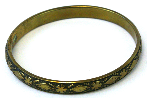 Brass Bangle Bracelet  Embossed Deco Flowers And Dots Motif