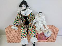 "Pair of Vintage Schmid Pierrot Love Dolls - Clown & 19"" Harlequin  w/Tags"