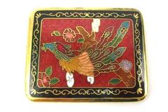 Vintage Red Cloisonne Peacock Decor Pocket Mirror