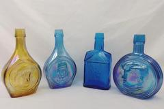 Lot of 4 Wheaton Carnival Glass Bottles, JFK, P. Revere, W. Rogers, Lindbergh