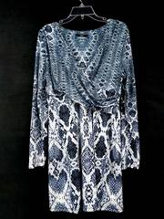 TART COLLECTIONS Faux Wrap Dress April Blue-Gray Snakeskin Print Size L