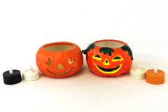 Two Jack-O-Lantern Tea Light Candle Holders And Battery Operated Candles (As-Is)