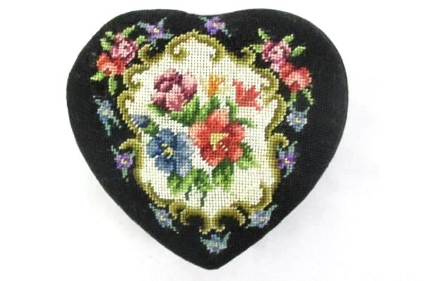 Black Heart Shaped Cross Stitch Jewelry Display Box