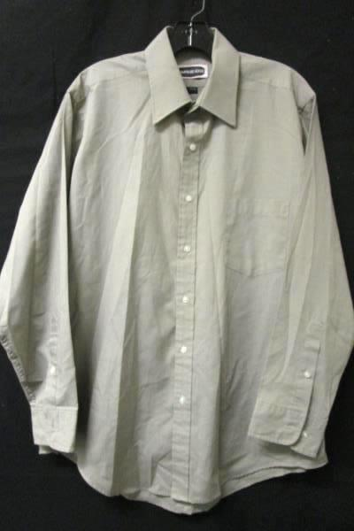 Button Up Dress Shirt Hampshire House Dark Beige Polester Blend Men's S 16-32/33