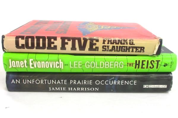 Lot of 3 Hardcover Books Code Five +An Unfortunate Prairie Occurrence +The Heist
