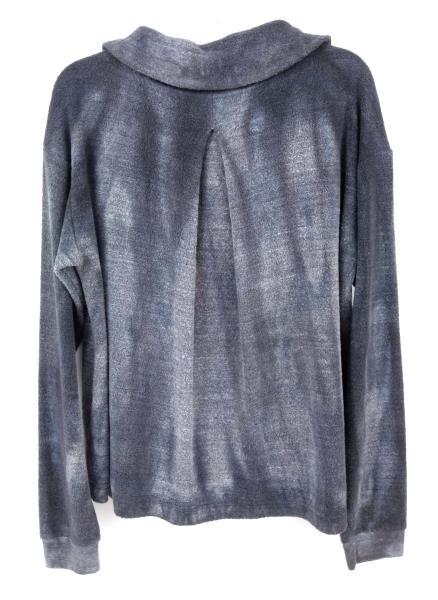 BELLA LUXX Funnel Neck Pullover Heather Gray Tie Dye Fleece Sweater Sz M NWT