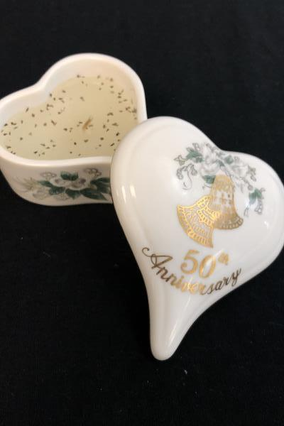 Lot Of 3 Toasting Glasses Heart Trinket Lunds Lites Happy 50th Anniversary