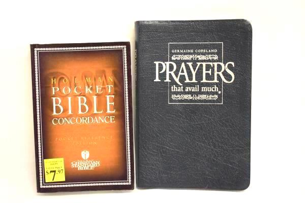 Lot Of 2 Books Pocket Bible Concordance & Leather Bound Book Of Prayers